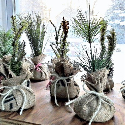 Mini Faux Saplings from Upcycled Christmas Decor