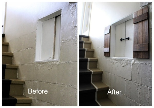 Basement-crawl-space-entry-faux-wood-shutter | Stow and Tell U