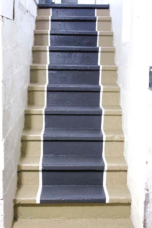 DIY Painted Stair Runner with Painted Edge Trim