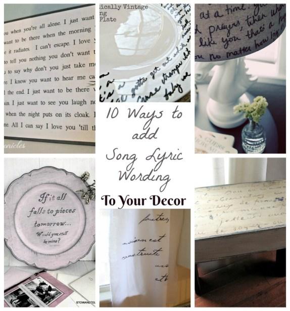 10 song lyric wording decor ideas for, home and garden   stowandtellu.com