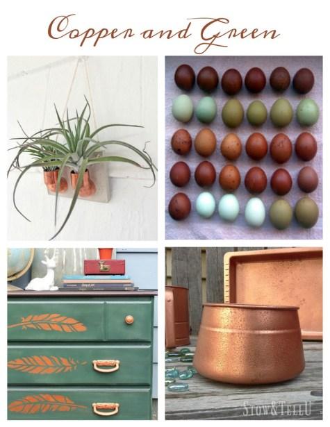 Copper and green decor ideas   Stowandtellu.com