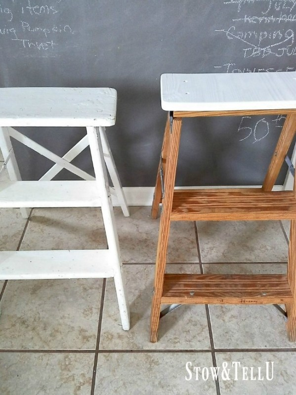 DIY Step Ladder Stool-Chairs for extra seating. Space saving seating ideas | StowandTellU