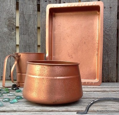 copper and green decor - diy hammered copper paint | StowAndTellU.com