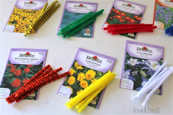 Senory colored pipe cleaner plant markers | StowandTellU.com