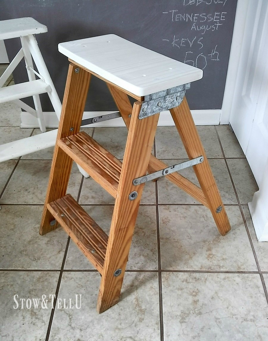 How To Turn A Wooden Step Ladder Into A Stool Or Chair For Extra Seating