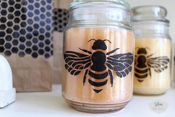 Honey bee honeycomb stencil jar candles   Stowandtellu.com
