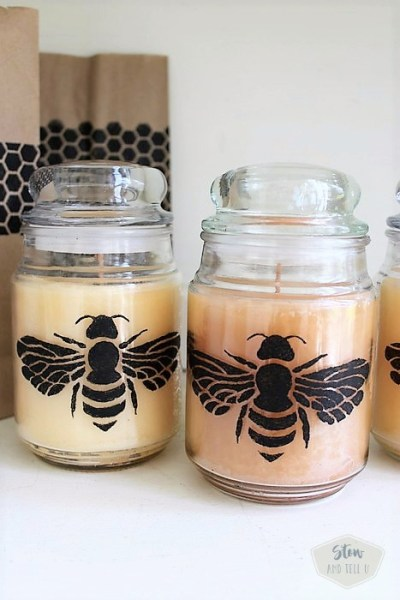 How to stencil a jar candle. Honeybee honeycomb stencil | Stowandtellu.com