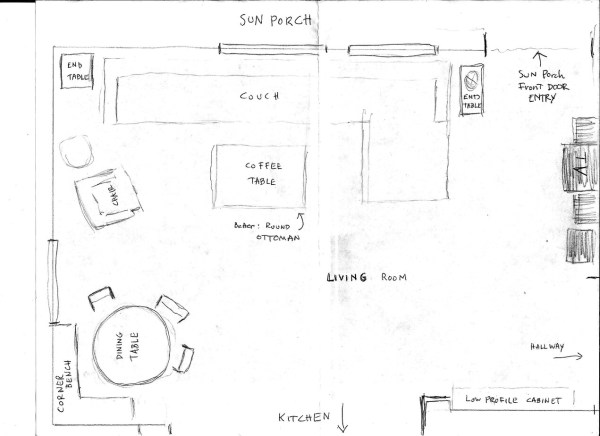 Our new small living room layout in the raw stow tellu for Dining room layout