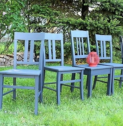 Anvil Gray Chalky Finish spray painted dining chair set | stowandtellu.com