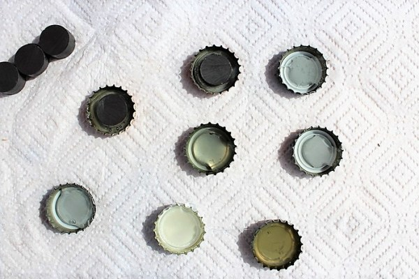 Glue magnets to inside of bottle caps