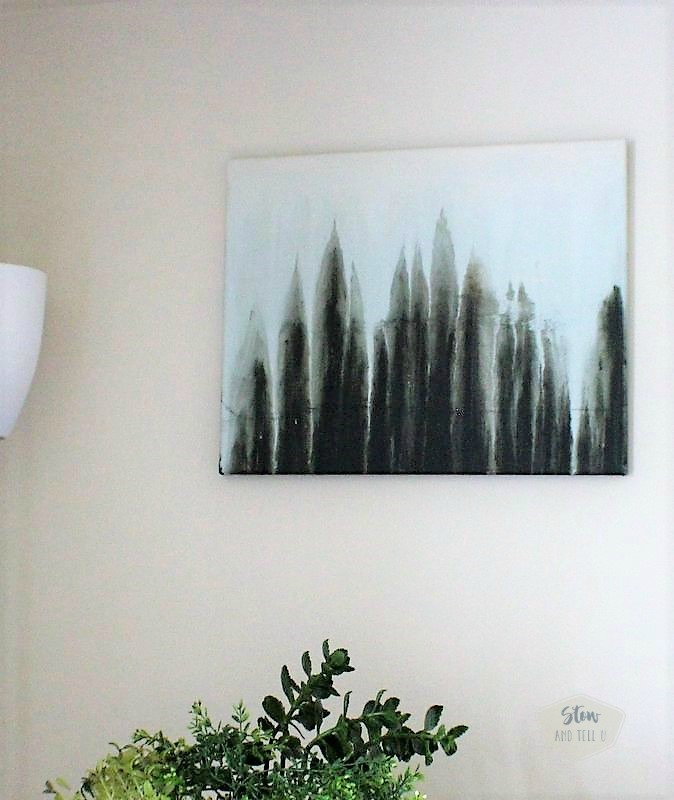 Abstract water color drip art made to look like a forest scene | faux forest drip art | stowandtellu.com