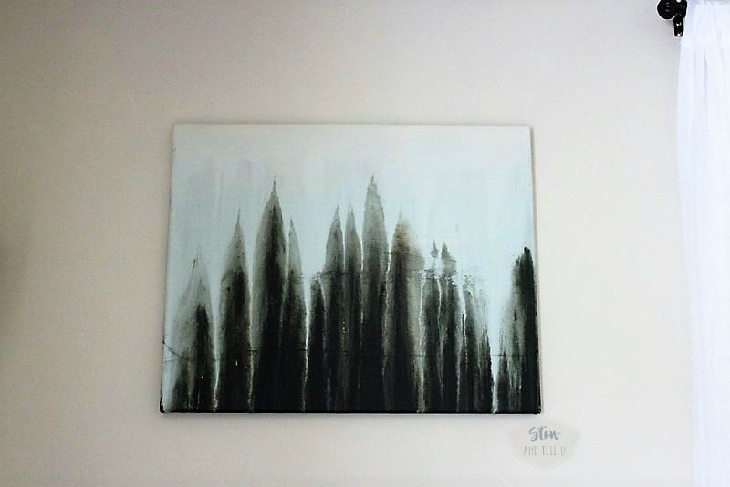 Drip paint abstract forest scene | faux forest drip painting art | stowandtellu.com