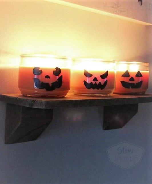 Halloween Jack-o-Lantern jar candles | Last minute party ideas | stowandtellu.com
