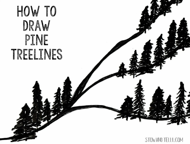 Pine Tree Drawing Lesson | stowandtellu.com