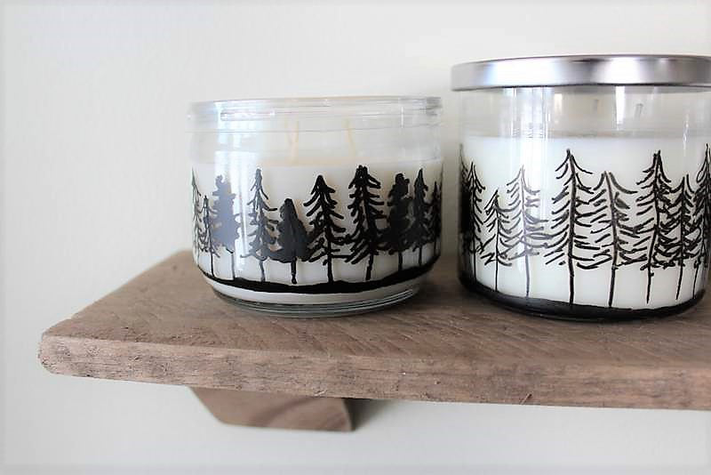 Treeline drawing on candle ljars   How to make Pine Tree Jar Candles with a paint marker   Stowandtellu.com
