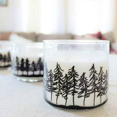 Cabin Fever Craft: DIY Pine Treeline Drawing Jar Candles