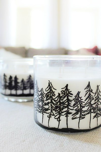 30 Minute Winter Cabin Fever Craft | Pine Tree Jar Candles | How to draw a treeline on jar candles | stowandtellu.com