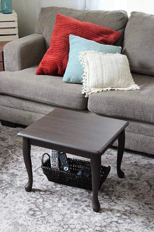 End Table Upcycled as DIY Small space coffee table | Stowandtellu.com