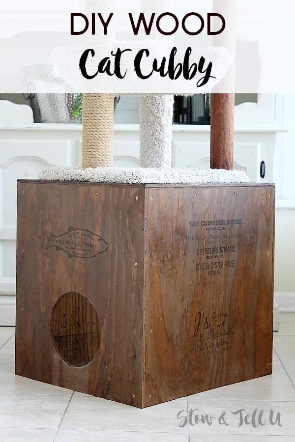 Crate Style DIY Wooden Cat Cubby | stowandtellu