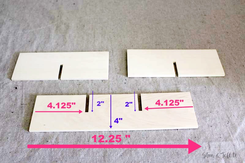 How to measure notches on wood slats for a divided basket