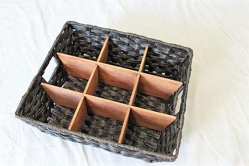 DIY Wicker Divided Basket with Wood Insert