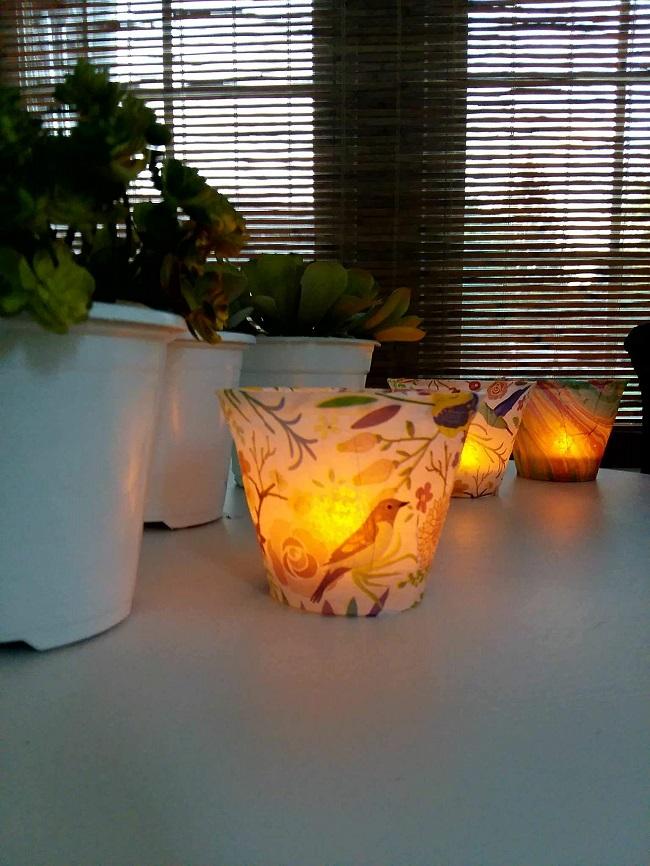 Diy decoupage tissue paper lights | stowandtellu.com