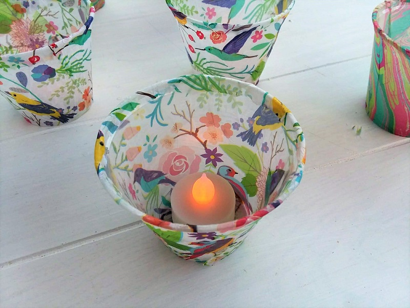 Plastic cup and tissue paper flameless-tea light holder | stowandtellu.com