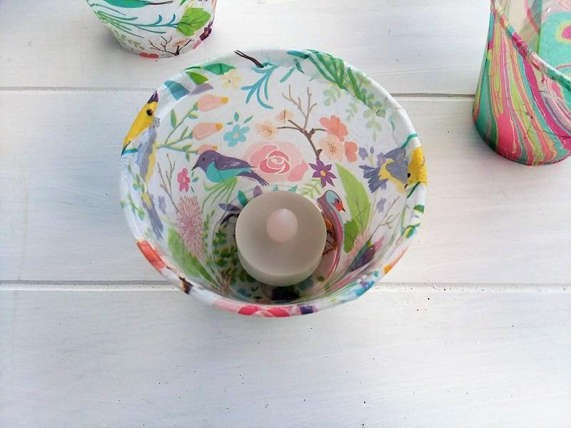Plastic cup tissue paper flameless tea light holdeer | stowandtellu.com