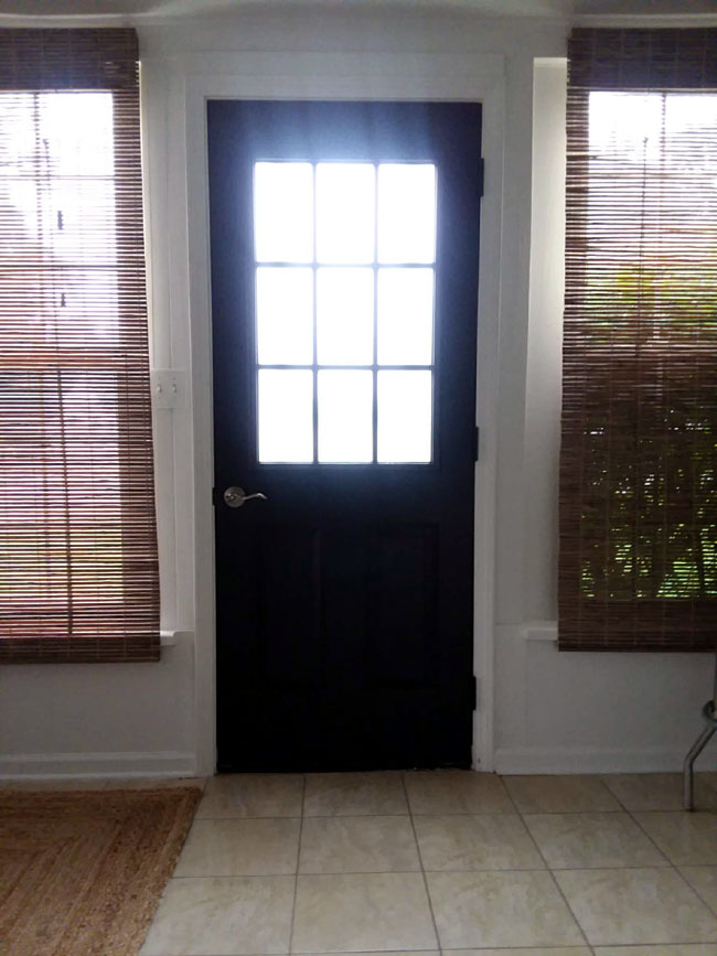 Black Painted Grille Door | 10 Steps for Painting Grid Doors and Frosting Glass Window Lites