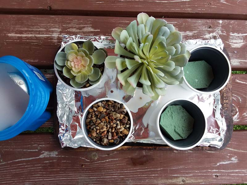 Potting Faux Succulents with diy gravel glue | How to make diy gravel glue | stowandtellu.com