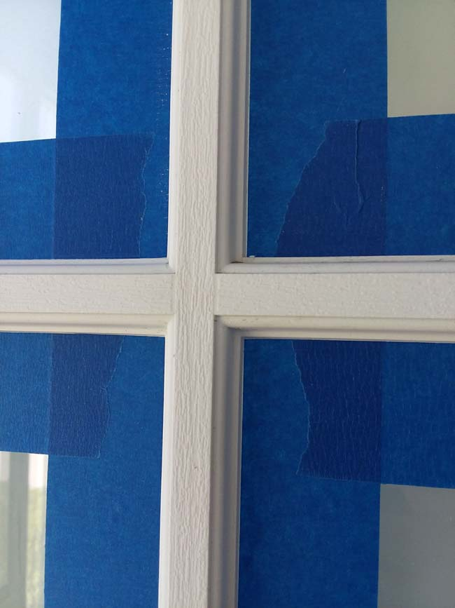 Grid Door Window taped for painting | 10 Tips to Painting Grid Doors and Frosting the Glass Windows