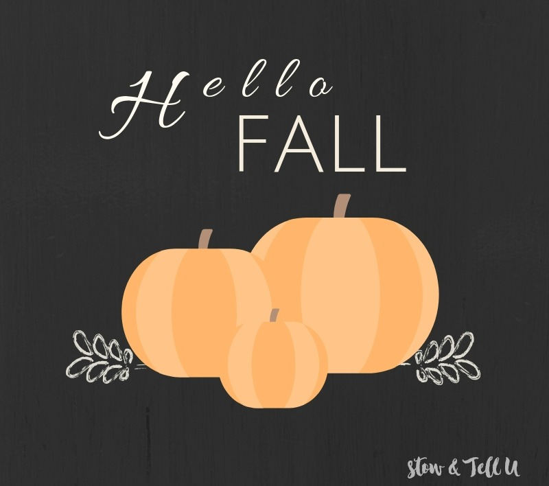 Hello Fall Pumpkin Printable black background, orange pumpkins, white text | stowandtellu.com