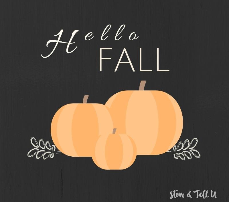 Hello Fall Pumpkin Printable black background, orange pumpkins, white text | stowandtellu.com