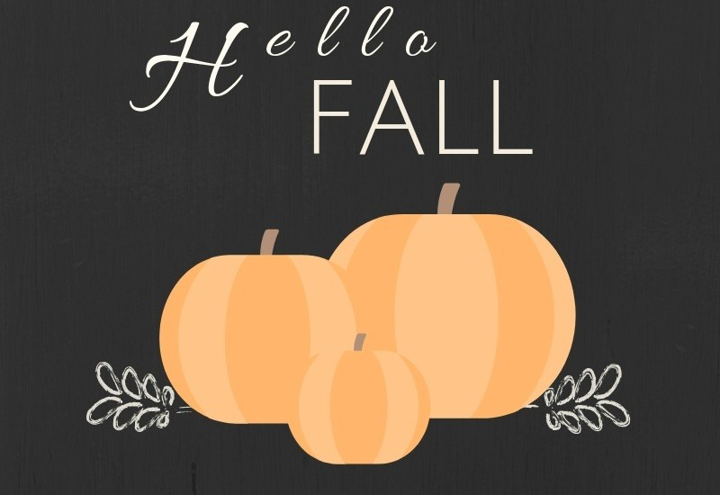 Hello Fall Pumpkin free printable orange-black background | stowandtellu.com