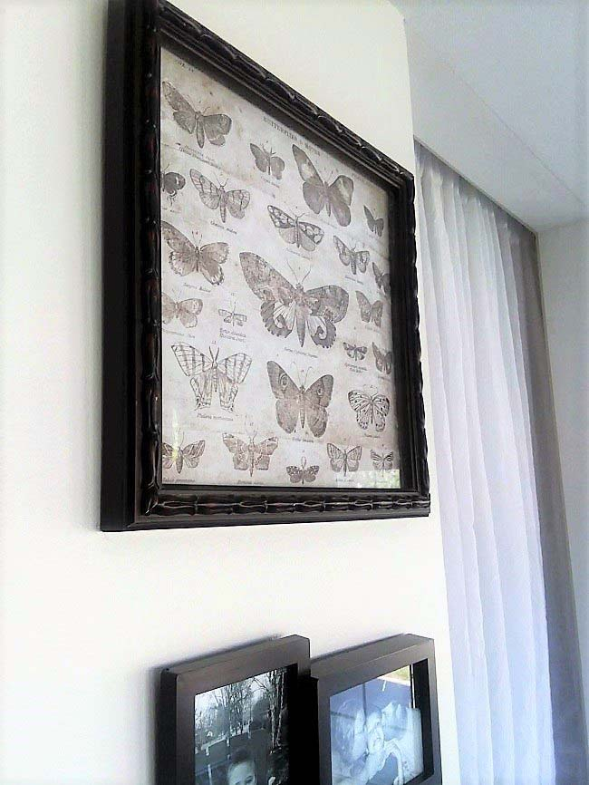 Moth-scrapbook-paper-in-frame sun porch gallery wall