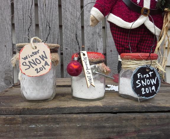 Mini Jar Ornaments filled with Snow
