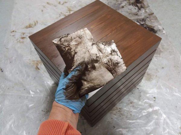 Rag used to apply gel stain