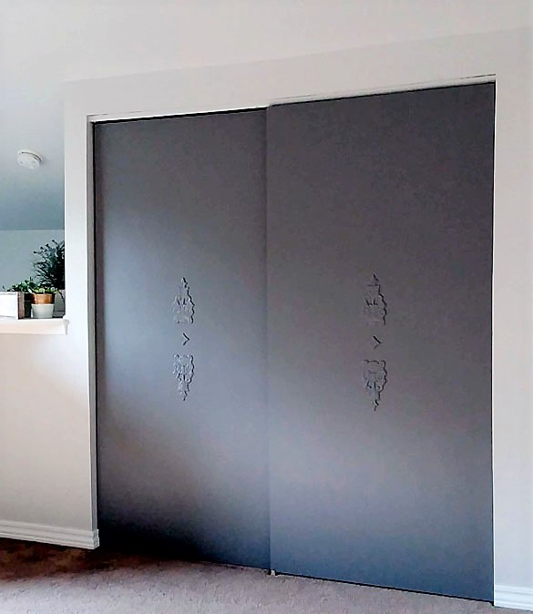 Dark Gray Upcycled Painted Closet Doors
