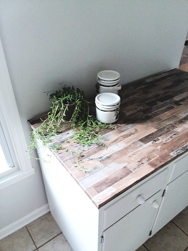 Budget Faux Wood Countertop using Removable Wallpaper