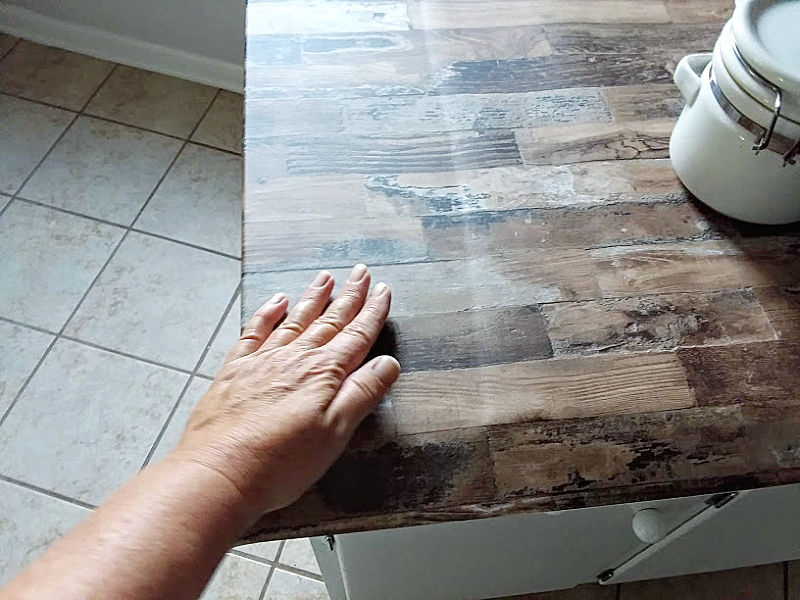 Countertop with Fake Wood Wallpaper