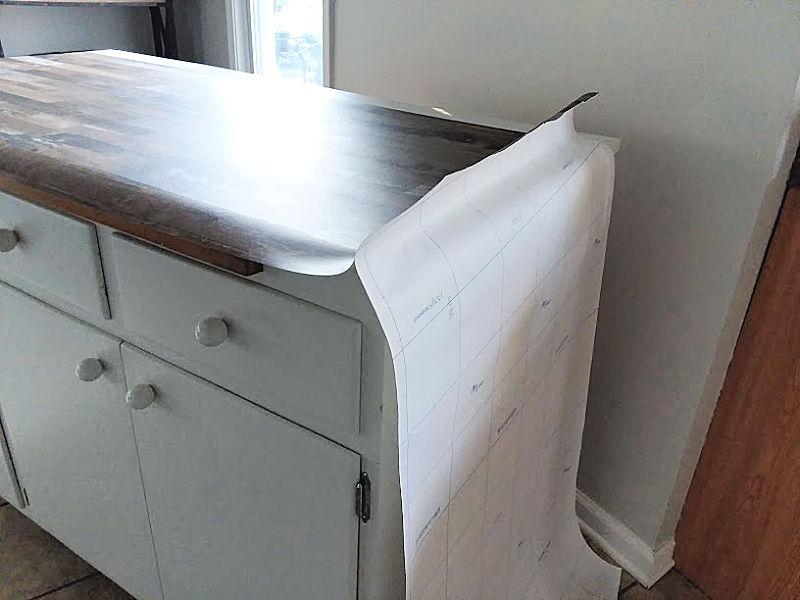 Laying Peel Stick Wallpaper on Countertop
