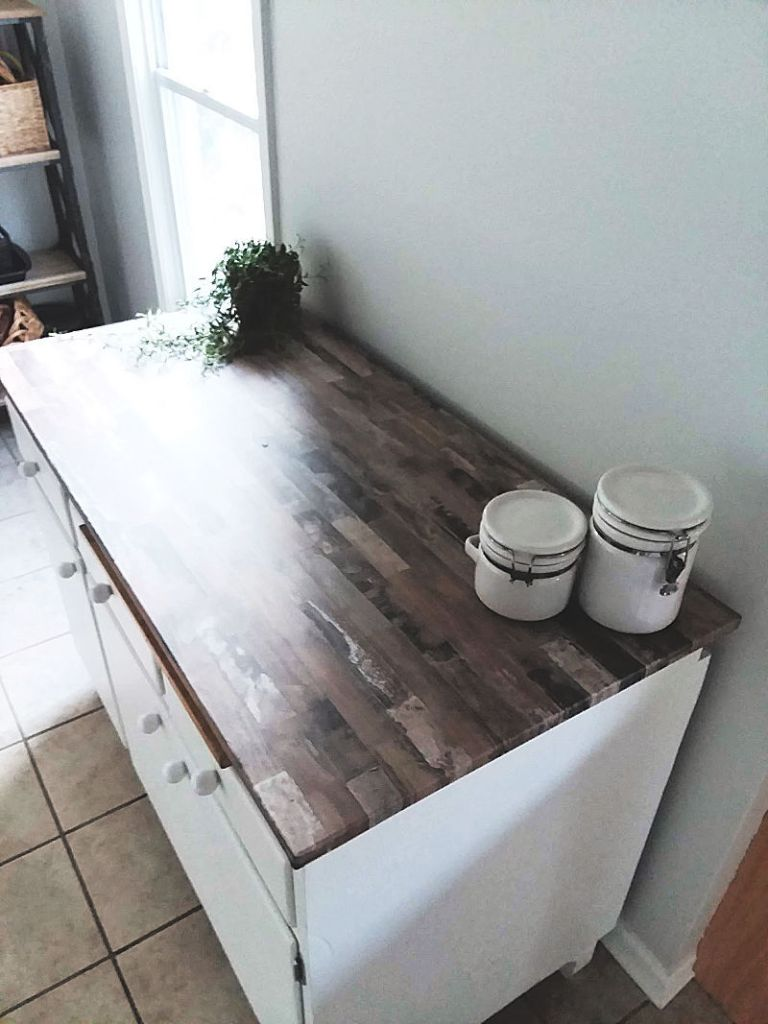 faux wood wallpapered countertop