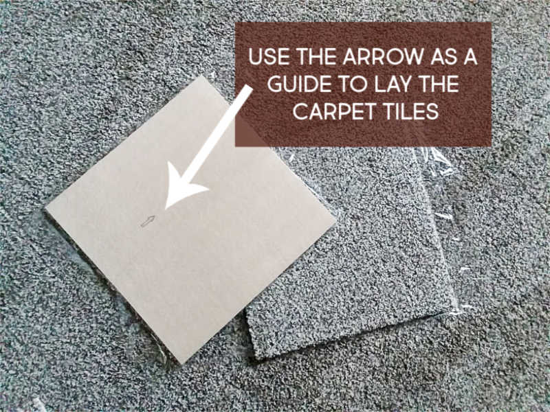 Use the Arrow on back of carpet tile for easy installation