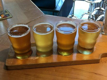 The tasting flight at von Trapp Brewery Bierhall in Stowe, Vermont