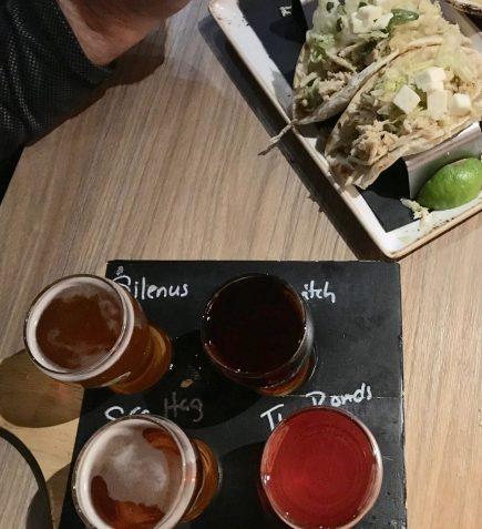 November 18, 2018 - Sampler and Chicken Tacos at These Guys BC in Norwich, Connecticut