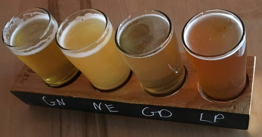 February 16, 2018 - The tasting line-up at Simple Roots Brewing Company in Burlington, Vermont