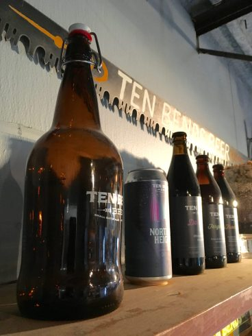 June 30, 2018 - Containers at Ten Bends Beer in Hyde Park, Vermont