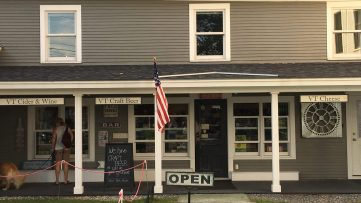 August 25, 2018 - Entrance to Stowe Public House and Bottle Shop in Stowe, Vermont