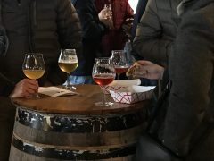 October 27, 2018 - Drinkers at Hill Farmstead Brewery in Greensboro, Vermont