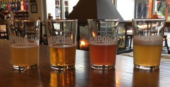 November 2, 2018 - Four samples at Harpoon Brewery in Windsor, Vermont